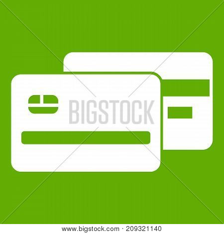 Credit card icon white isolated on green background. Vector illustration