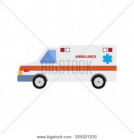 vector flat cartoon ambulance car. Paramedic emergency auto. Medical evacuation service rescue vehicle. Hospital transport. Isolated illustration on a white background