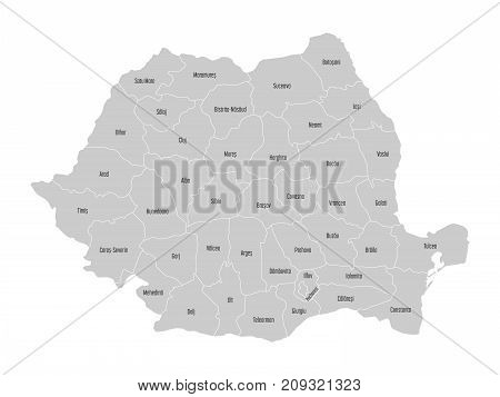 Administrative counties of Romania. Vector map with labels.