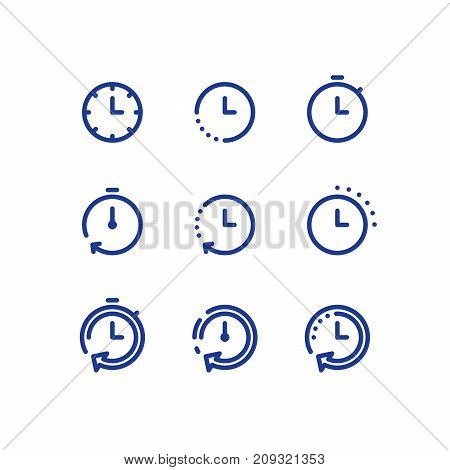 Fast time logo, stop watch symbol,  time period concept, working hours,  quick timely delivery, express and urgent services, deadline and delay, vector line icon set