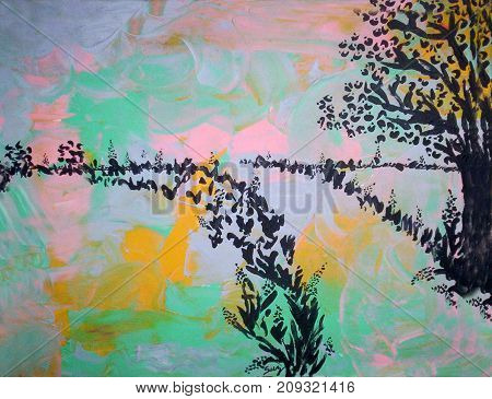 Acrylic painting on canvas of trees and grass along a road in black  silhoutte on an abstract background