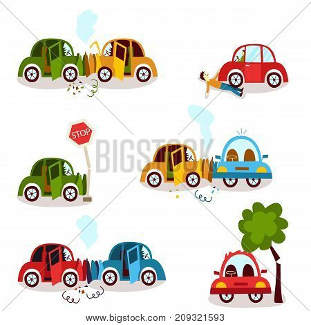 Car accident, motor vehicle collision, fender bender set, cartoon vector illustration isolated on white background. Front, side and rear collision, car crash, road accident, cartoon style set