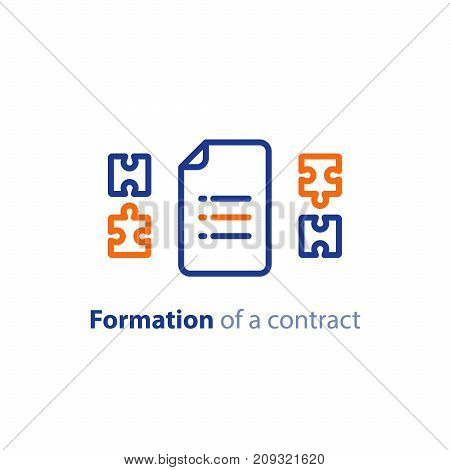 Formation of a contract concept, document creation, terms and conditions settlement agreement, vector line icon
