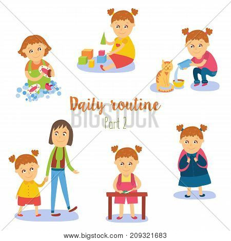 vector flat girl kid doing everyday routine activity set. Child washing dishes , playing with cubics, walking with mother, feeding cat, going to school . Isolated illustration on a white background.