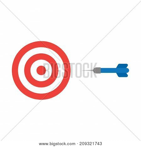Flat Design Style Vector Concept Of Bullseye With Dart Icon On White