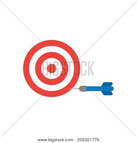 Flat Design Style Vector Concept Of Bullseye With Dart Icon In The Side On White