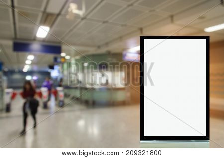 blank advertising billboard or showcase light box with copy space for your text message or media and content in subway train station commercial marketing and advertising concept