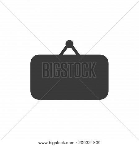 Flat design style vector illustration of black blank hanging sign symbol icon on white background.
