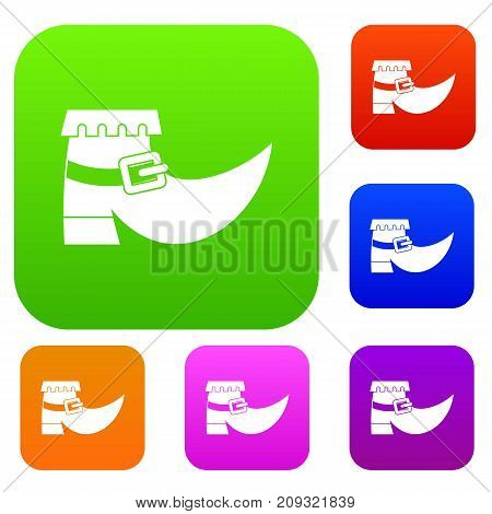 Boot with buckle set icon color in flat style isolated on white. Collection sings vector illustration