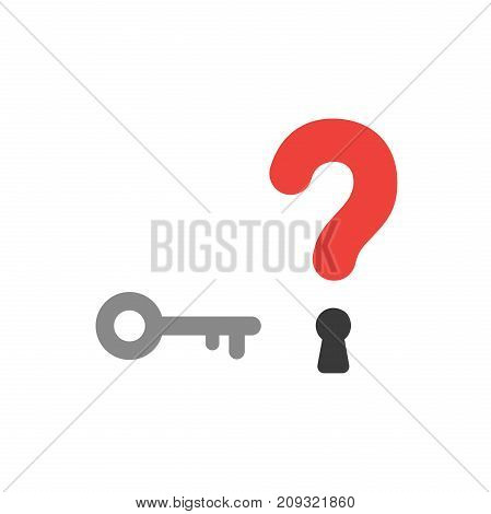 Flat Design Style Vector Concept Of Question Mark With Key And Keyhole Icon On White