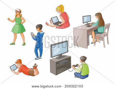 Kids using gadgets - computer, laptop, tablet, smartphone, game console, augmented reality glasses, back view, flat cartoon vector illustration isolated on white background. Kids and technologies