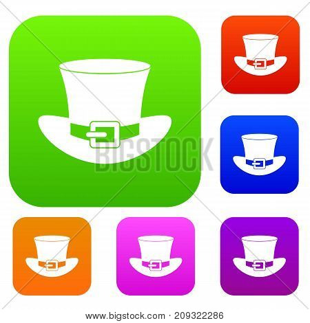 Top hat with buckle set icon color in flat style isolated on white. Collection sings vector illustration