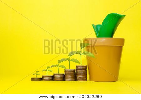 growing plant and money coin stack with piggy bank or tree shaped money box on yellow background saving money business finance and banking concept