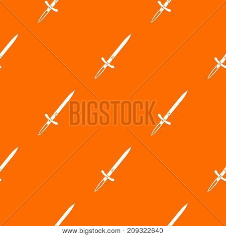 Sword pattern repeat seamless in orange color for any design. Vector geometric illustration