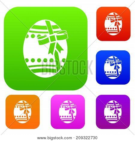 Big easter egg set icon color in flat style isolated on white. Collection sings vector illustration