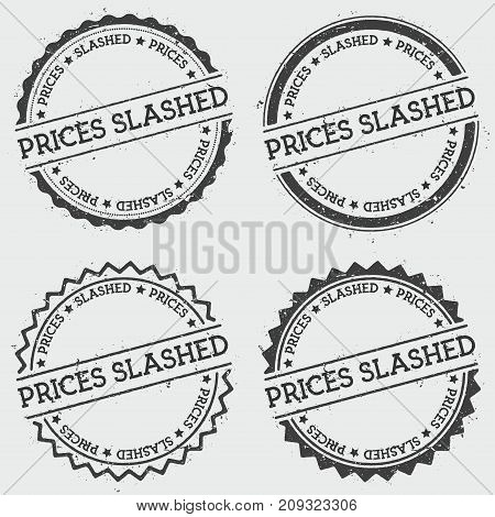 Prices Slashed Insignia Stamp Isolated On White Background. Grunge Round Hipster Seal With Text, Ink