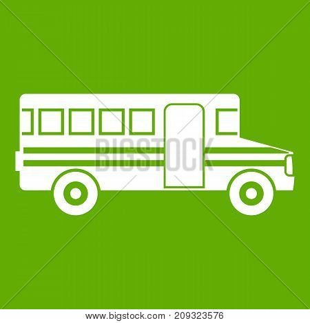 School bus icon white isolated on green background. Vector illustration
