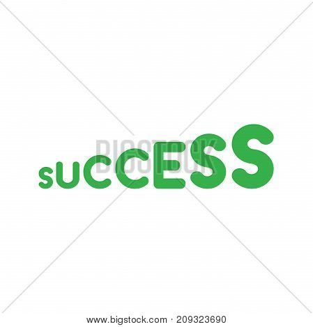 Flat design style vector illustration concept of letter stairs symbol icon with green success text on white background.