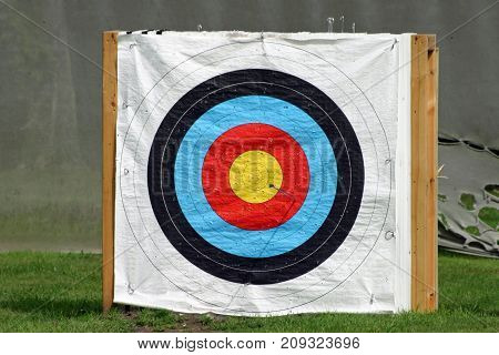 Archery target on a white background fitted to a pallet with an arrow in the red and numerous holes elsewhere. Background of grass and grey cloth barrier behind.