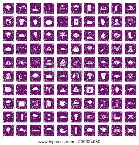 100 thunderstorm icons set in grunge style purple color isolated on white background vector illustration