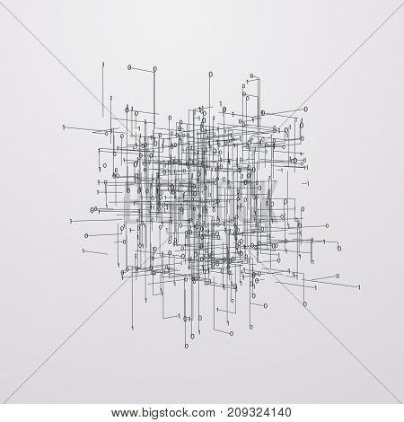 Abstract 3d technology background with lines and binary code. Software architecture engineering concept. Vector futuristic illustration. HUD element for design. Perspective view. Cyber space hierarchy