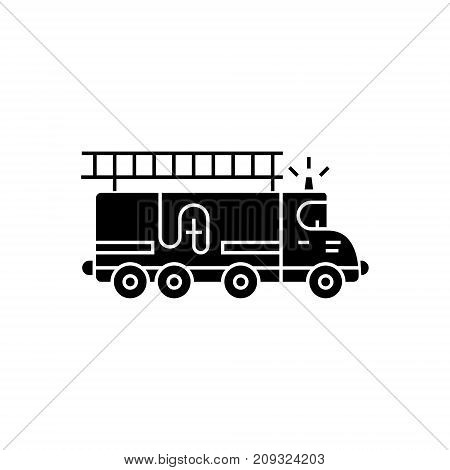 fire engine - car icon, illustration, vector sign on isolated background