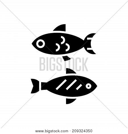 fish - small icon, illustration, vector sign on isolated background