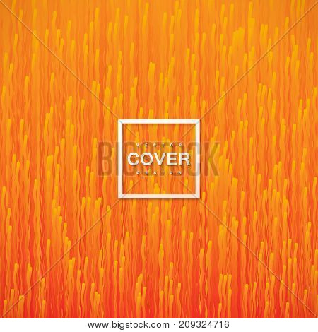 Abstract orange background with flowing fluid lines. Streaming gradient particles. Vector art illustration. Cover or banner design template. Tiling vibrant wallpaper