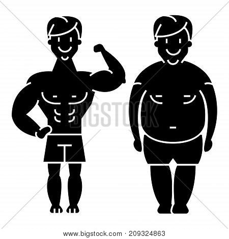 fitness - before and after - strong man - fat guy icon, illustration, vector sign on isolated background