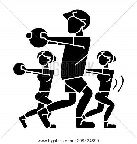 fitness people - gym icon, illustration, vector sign on isolated background