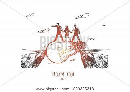 Creative team concept. Hand drawn teamwork process. luminous light bulb as symbol of creative work isolated vector illustration.