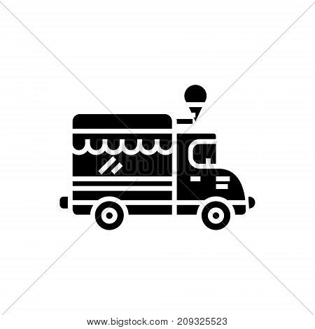 food track - ice cream car icon, illustration, vector sign on isolated background