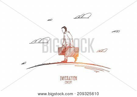 Emigration concept. Hand drawn man with suitcases emigrates. Person leaving his country isolated vector illustration.