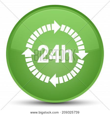 24 Hours Delivery Icon Special Soft Green Round Button