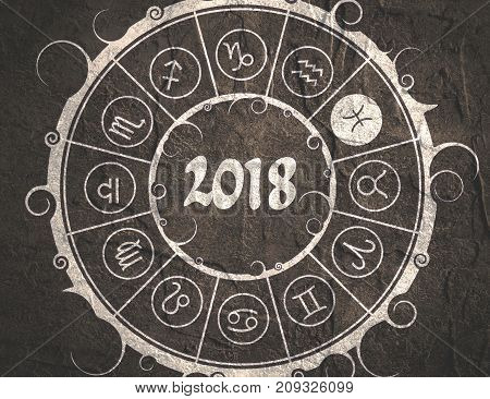 Astrological symbols in the circle. Pisces sign. New Year and Christmas celebration card template. Zodiac circle with 2018 new year number. Grunge concrete wall texture