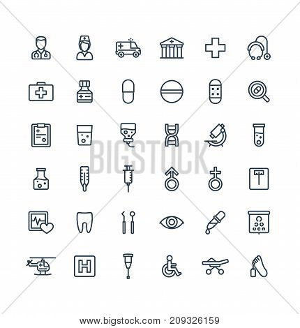 Vector thin line icons set and graphic design elements. Illustration with medical, medicine and healthcare outline symbols. Dentist, health, ambulance, care, doctor, pill, stethoscope linear pictogram