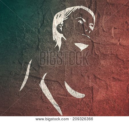 Naked young woman. Female torso sketch. Grunge concrete wall texture