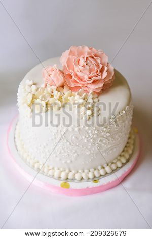 Wedding cake with roses, cake for a wedding