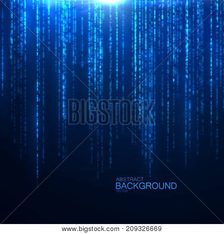 Glittering falling sparkles. Sparkling blue threads curtain. Abstract festive glowing background. Shimmering light particles. Magic glitters rain. Vector illustration. Confetti effect
