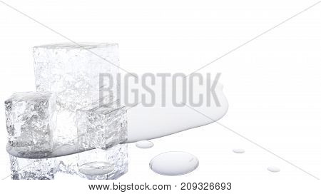 A 3D illustration of a melting ice cube with a white background.
