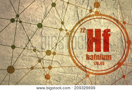 Hafnium chemical element. Sign with atomic number and atomic weight. Chemical element of periodic table. Molecule And Communication Background. Connected lines with dots. Distress grunge texture