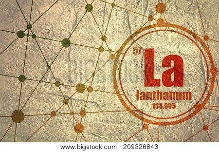 Lanthanum chemical element. Sign with atomic number and atomic weight. Chemical element of periodic table. Molecule And Communication Background. Connected lines with dots. Distress grunge texture