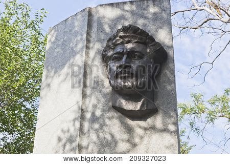 Evpatoria, Republic of Crimea, Russia - July 19, 2017: Monument to David Leibovich Karaev in the garden named after Karaev in the city of Evpatoria