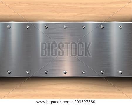 Metal plates on wooden background. Vector illustration