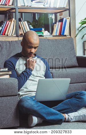 African American Student Using Laptop
