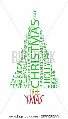 A Tree shaped word cloud of Christmas related terms.