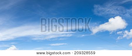 Panoramic White Fluffy Clouds In The Blue Sky