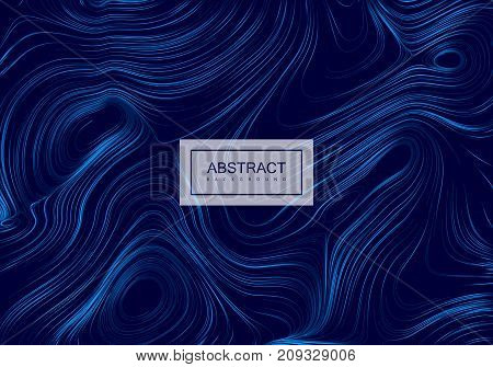 Abstract artistic blue background with swirled gradient lines. Vector vintage illustration with curled pattern. Marble or acrylic texture imitation. Creative cool banner or poster design.