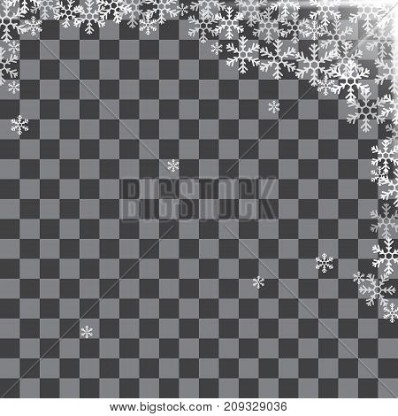 Abstract pattern of transparent falling snowflakes on translucent background. Pattern for banner, greeting, Christmas and New Year card, invitation, postcard, paper packaging. Vector illustration.