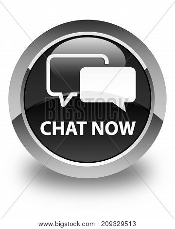 Chat Now Glossy Black Round Button